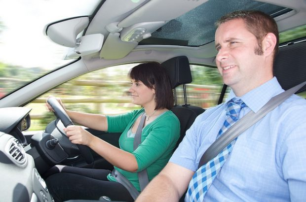 A driving instructor and pupil on a lesson