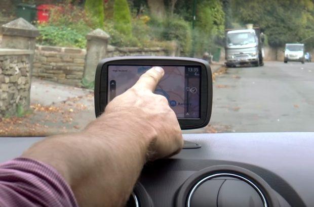 Sat nav being used in a car