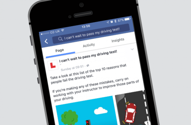 Phone screen showing DVSA's 'I can't wait to pass my driving test' facebook page