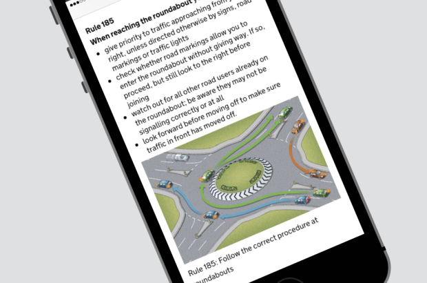 Mobile phone on the Highway Code rule 185 page