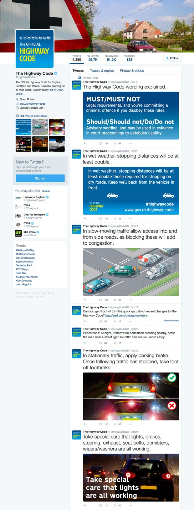 Screenshot of the Highway Code twitter account