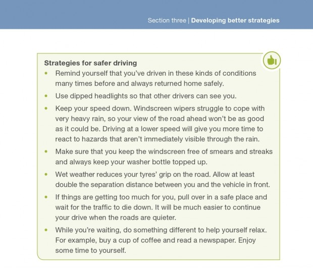 Screenshot of DVSA's guide to Better Driving about strategies for safer driving, pages 86