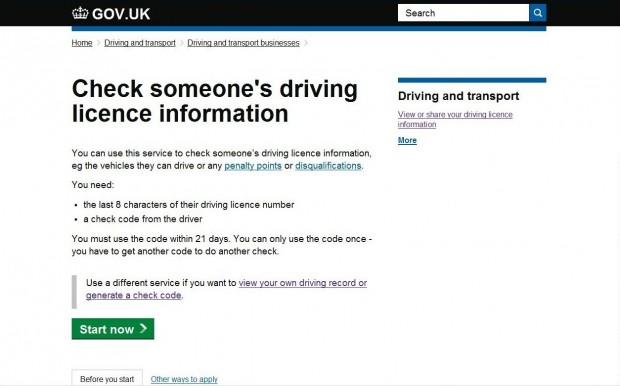 GOV.UK page for 'Check someone's driving licence information'