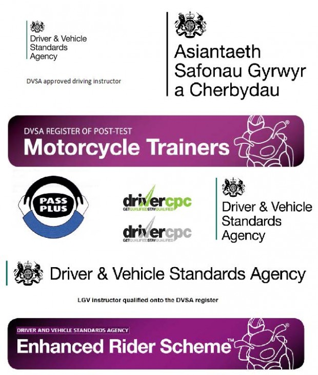 DVSA branding logos for: DVSA approved driving instructors, DVSA register of post-test motorcyle trainers, Pass Plus, Driver CPC, Driver and Vehicle Standards Agency, Asiantaeth Safonau Gyrwyr a Cherbydau, LGV instructor qualified onto the DVSA register and Driver and Vehicle Standards Agency Enhanced Rider Scheme.