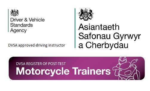 DVSA branding for: Driver and Vehicle Standards Agency, Asiantaeth Safonau Gyrwyr a Cherbydau, DVSA register of post-test motorcycle trainers