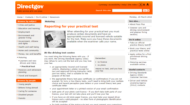 2010: 'Reporting for your practical test' at the not-so-catchy address of www.direct.gov.uk/en/Motoring/LearnerAndNewDrivers/PracticalTest/DG_4022541