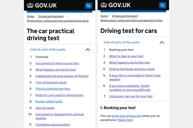 Before and after of the driving test guide on GOV.UK