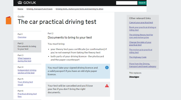 2013: 'Documents to bring to your test' at the more meaningful address of www.gov.uk/practical-driving-test-for-cars/documents-to-bring-to-your-test - but it's still very long