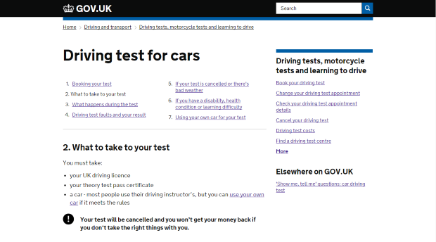 2016: 'What to take to your test' at the simpler and clearer address of www.gov.uk/driving-test/what-to-take