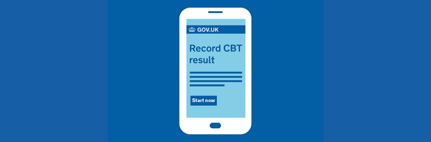 Phone graphic showing a mock up of the GOV.UK record a CBT result page
