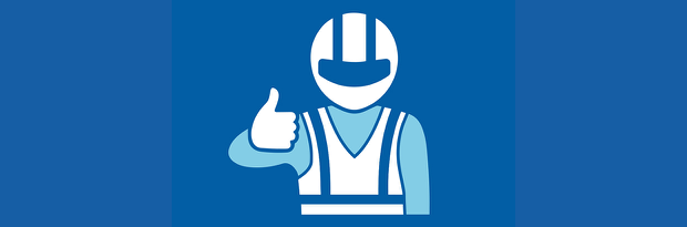 Illustration of a motorcyclist with a 'thumbs up'