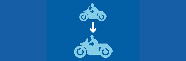 Progressive access training graphic showing a smaller bike with an arrow to a bigger bike