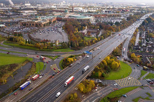 Overhead shot of traffic on motorway