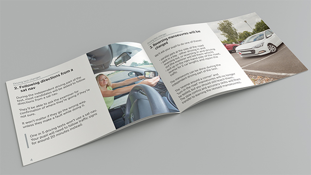 A double-page spread of the driving test changes handbook