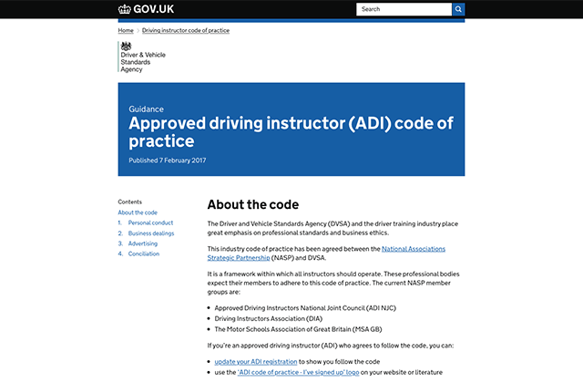 A screenshot of the ADI code of practice on the GOV.UK website