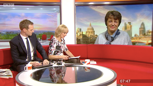 Lesley Young appearing on BBC Breakfast