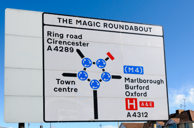 Photo of a road sign showing the layout of the magic roundabout